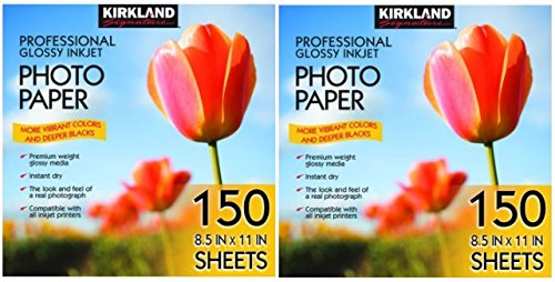 Kirkland Signature Professional Glossy Inkjet Photo Paper 8.5 x 11 Inch, 150 Sheets (2 Pack) by Kirkland