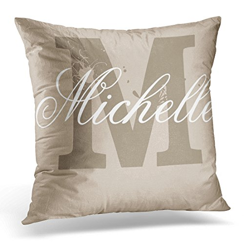 VANMI Throw Pillow Cover Khaki Monogrammed Personalized Monogram Taupe Name Decorative Pillow Case Home Decor Square 16x16 Inches Pillowcase (Pillowcase Personalized Monogrammed)
