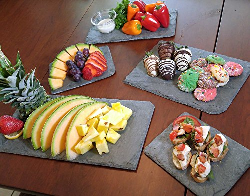 Cohas Slate Food and Cheese Platter Restaurant Pack includes 12 Medium 8 by 12 Inch Boards, Undrilled Gray Slate by Cohas (Image #4)