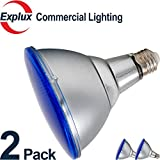 Blue PAR38 LED Bulbs, Dimmable, Full Glass Weatherproof 12W (90 Watts Equivalent) LED Blue PAR38 Light Bulbs, Flood Light, Blue Color (Pack of 2)