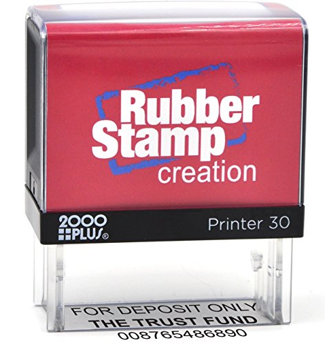 Bank Deposit Stamp - Three Line Self Inking Stamp for Check Endorsement - 3/4' x 1-7/8'