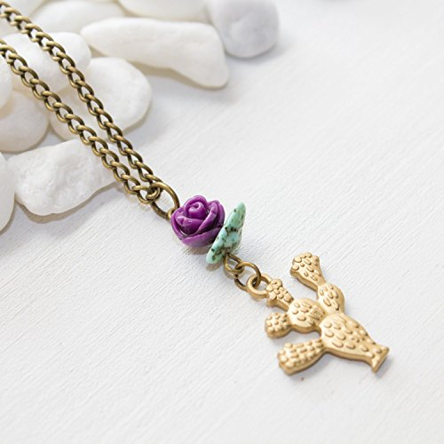 Prickly Pear Flowering Cactus Necklace – Unique Handmade Purple Flower Southwestern Jewelry – Made in Phoenix, AZ