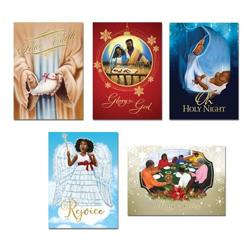"Search : African American Expressions - Holiday/Christmas Boxed Cards Assortment (15 cards per box, 5"" x 7"") A-303"
