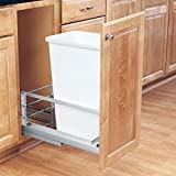 Rev-A-Shelf - 5349-1550DM-1 - Single 50 Qt. Pull-Out Brushed Aluminum and White Waste Container