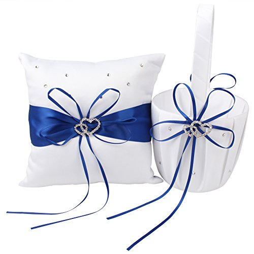 Basket Heart Wedding - OurWarm Flower Girl Basket and Ring Pillow Set Double Heart Rhinestone Wedding Party Favor Decor Royal Blue