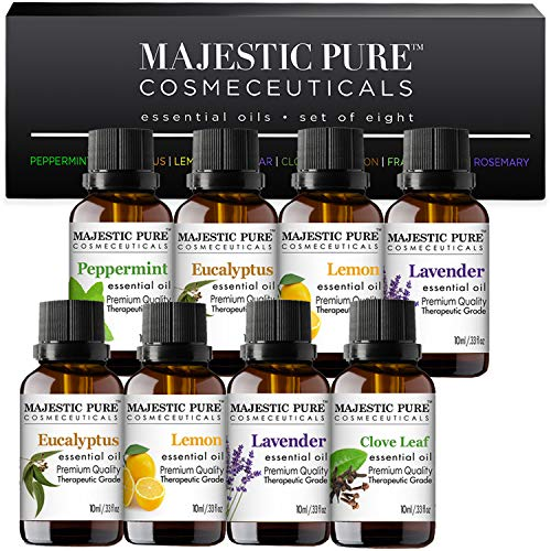 MAJESTIC PURE Essential Oils Set for Aromatherapy and Diffuser Natural Therapeutic Grade Lavender Eucalyptus Peppermint Lemon Frankincense Clove Cinnamon and Rosemary Oils Pack 8 x 10ml