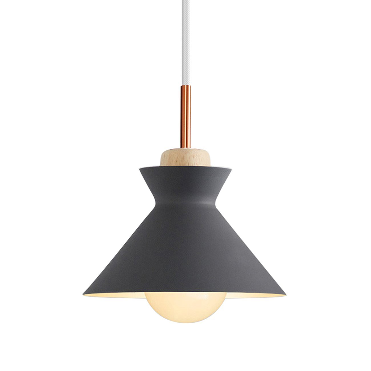 Nordic Modern Pendant Ceiling Light Nordic Macaron Aluminum+Wood Chandelier Fixture Kitchen Pendant Lighting Living Room Pendant Lighting-UL Certification (Grey-B)