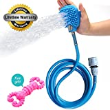 Pet Shower Bathing Glove Sprayer Accessories With Grooming Glove Head 8 Ft Hose For Home Dog Massage Washing Station And Pet Chew Toys Combing Dogs Horses Cats (Blue) By HOMEDEN