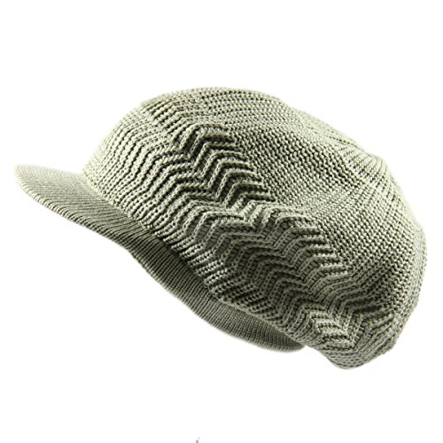RW Knitted Cotton Rasta Slouchy Beanie Visor (SAGE GREEN)