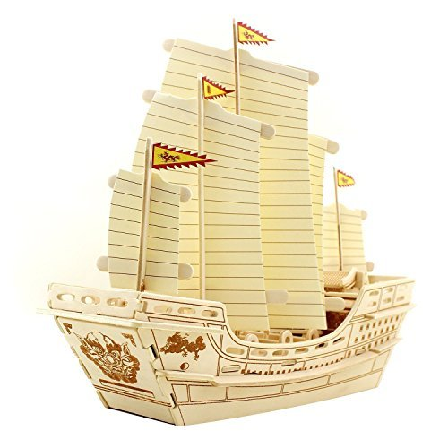 - lychee Wooden 3D Puzzle, Wooden DIY Model Set Handcraft Ancient Ship Birthday for Kids (Zheng He)