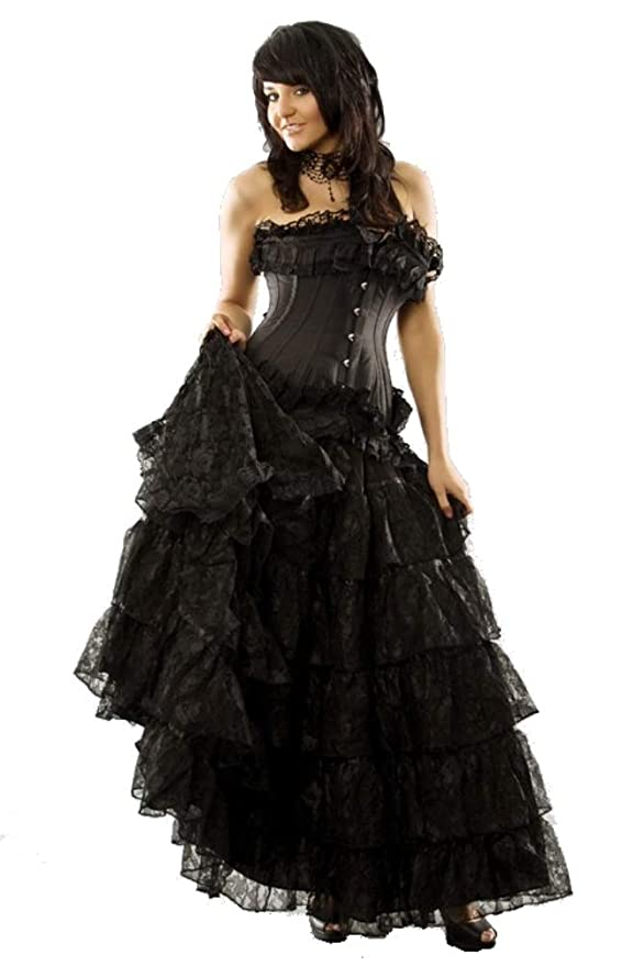 Steampunk Plus Size Clothing & Costumes Burleska Plus Size Victorian Black Lace Gothic Long Renaissance Skirt 1X-4X $125.99 AT vintagedancer.com