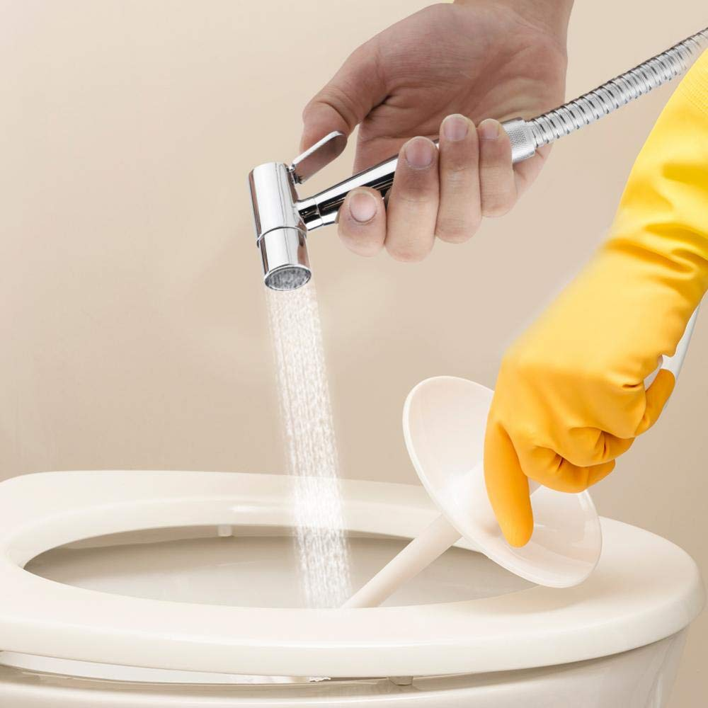 Garosa Conjunto de Rociador de Inodoro Bid/é con Almohadillas de Goma del Soporte Separador de Agua Manguera para Auto Limpieza del Ba/ño