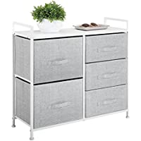 mDesign Wide Dresser Storage Tower - Sturdy Steel Frame, Wood Top, Easy Pull Fabric Bins - Organizer Unit Bedroom, Hallway, Entryway, Closets - Textured Print - 5 Drawers, Gray/White
