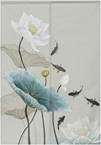 BAIHT HOME Noren Japanese Curtains Cotton Linen Doorway Tapestry Curtain Lotus Design Flower Door Curtain, 31