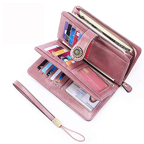 - UMODE Vintage Style Genuine Leather Large Capacity RFID Wallet Organizer for Women