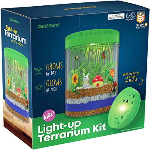 Best Gifts For 7 Year Olds (Light-up Terrarium Kit for Kids with LED Light on Lid - Create Your Own Customized Mini Garden in a Jar That Glows at Night - Great Science Kits - Gardening)