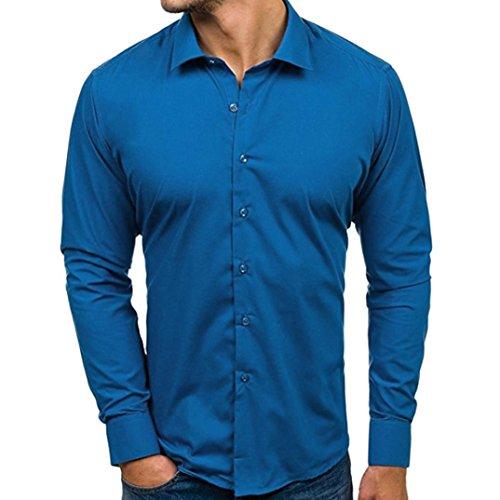 Elegante Manica Lunga Pulsanti Blu Slim Lunghe Lunga Cielo Maniche Sartoriale Cloom Classica Camicetta Casual Fit Camicie Uomo 7awRE8qEz
