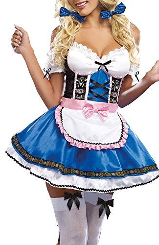COSWE Women Beer Girl Oktoberfest Maiden Halloween Fancy Dress (Blue) (Sexy Beer Maiden Costume)