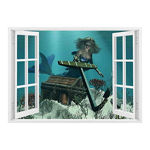 (SCOCICI 3D Depth Illusion Vinyl Wall Decal Sticker/Mermaid,Mermaid in The Ocean Sea Discovering Pirates Treasure Chest Mythical Art Print,Azure Brown Cream/Wall Sticker)