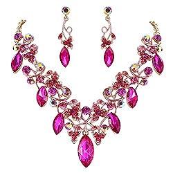 Crystal Floral Vine Leaf Necklace Earrings Set