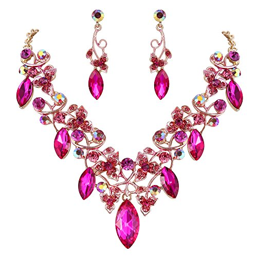 (BriLove Costume Fashion Necklace Earrings Jewelry Set for Women Crystal Floral Vine Leaf Statement Necklace Dangle Earrings Set Fuchsia Gold-Toned)