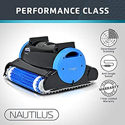 Dolphin Nautilus Automatic Robotic Pool Cleaner with Dual Filter Cartridges, Two Scrubbing Brushes and Tangle-Free Swivel Cord, Ideal for Swimming Pools up to 50 Feet : Swimming Pool Robotic Cleaners : Garden & Outdoor