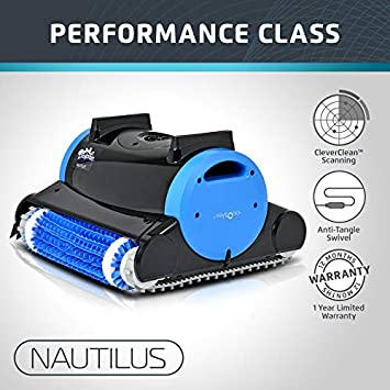 Dolphin Nautilus Automatic Robotic Pool Cleaner with Dual Filter  Cartridges, Two Scrubbing Brushes and Tangle-Free Swivel Cord, Ideal for  Swimming ...