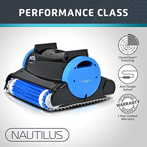 (Dolphin Nautilus Automatic Robotic Pool Cleaner with Dual Filter Cartridges, Two Scrubbing Brushes and Tangle-Free Swivel Cord, Ideal for Swimming Pools up to 50 Feet)