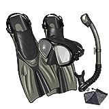 Promate Spectrum Snorkeling Fins Mask Snorkel Set, Bk/Titanium, SM