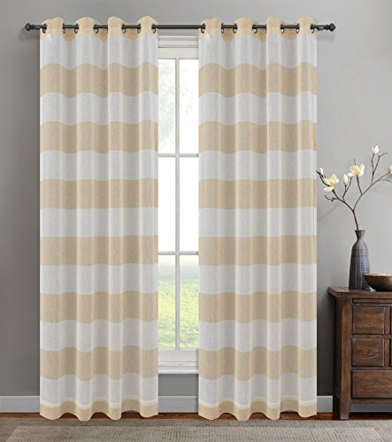 Urbanest 54-inch by 96-inch Set of 2 Nassau Faux Linen Sheer Striped Curtain Panels with Grommets, - Sheer Stripe 96 Inch