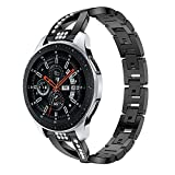 Buybuybuy Compatible Samsung Galaxy Watch Band 46mm, Replacement X-Shaped Metal Crystal Watch Band Wrist Strap for Samsung Galaxy Watch (Black)
