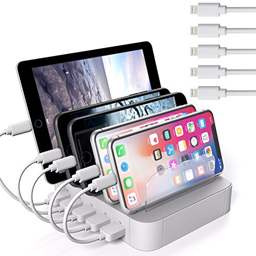 JZBRAIN Valentiens Day Multi Device Charging Station 5 Port Multiple USB Charger for Cell Phone and Tablets (5 Short Cables Included, White)