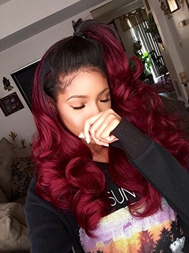 Body Wave Human Hair Lace Front Wigs Ombre Human Hair Wig #1b/red Glueless Full Lace Front Wigs with Baby Hair for Black Women by WY Wigs (Image #3)