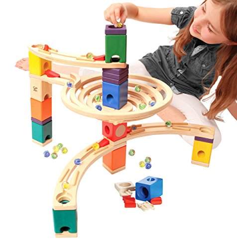 Hape Quadrilla Wooden Marble Run Builder Roundabout High