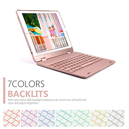 HuLorry Keyboard iPad Case for 2018 New iPad 9.7'', Bluetooth iPad Keyboard Case with Backlit 7 Color Folio Smart Stand Keyboard Case Compatible iPad 2018(6th Gen)/2017(5th Gen)/iPad Pro 9.7/Air 2/Air by HuLorry (Image #2)