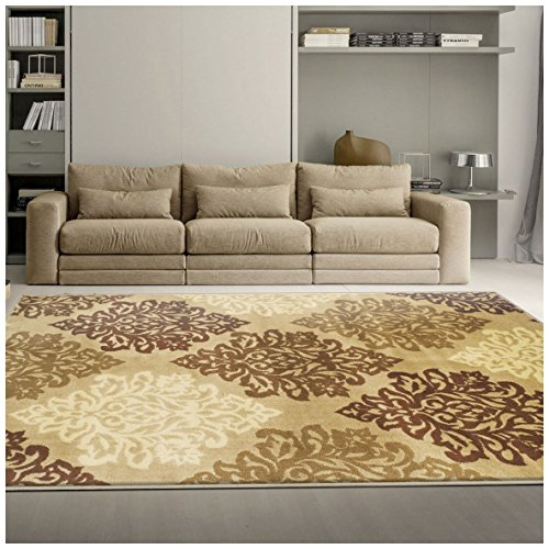 Brown 2'6 X 10' Runner (Superior Danvers Collection Area Rug, Modern Elegant Damask Pattern, 10mm Pile Height with Jute Backing, Affordable Contemporary Rugs - Beige, 2'7