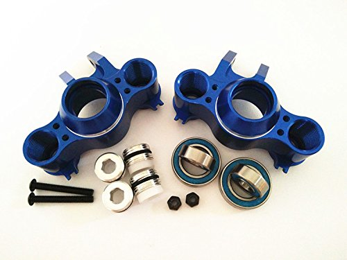 CrazyRacer for 1/10 RC Car E-REVO REVO 3.3 Summit E/MAXX T/MAXX 3.3 Slayer Pro 4X4 5334R Front or Rear Aluminum Steering Block Knuckle ARM with Rubber Shielded BEARINGS-1PR Set Blue