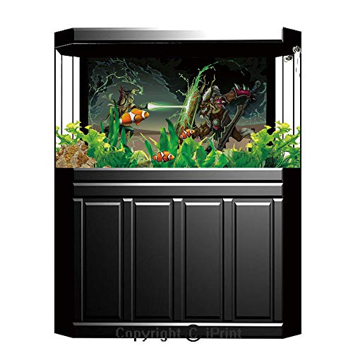 Terrarium Fish Tank Background,Anime Decor,Animal Comics Superheros with Dangerous Wild Powers Goat With Rays Lights Print,Multicolor,Photography Backdrop for Pictures Party Decoration,W48.03