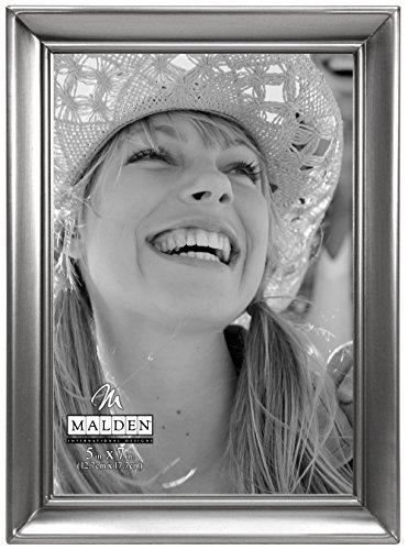 Malden International Designs Concourse Pewter Metal Picture Frame, 5x7, -