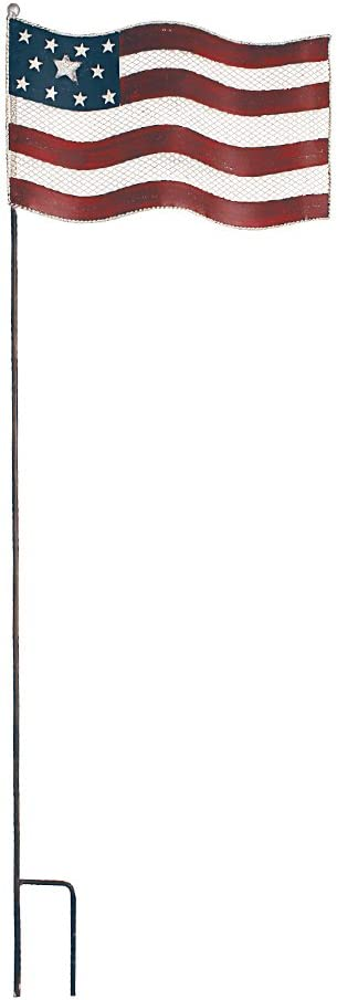 """E-view Patriotic Garden Stake Rustic Metal American Glory Flag Yard Stakes Indoor & Outdoor Decor for July Fourth (34"""")"""
