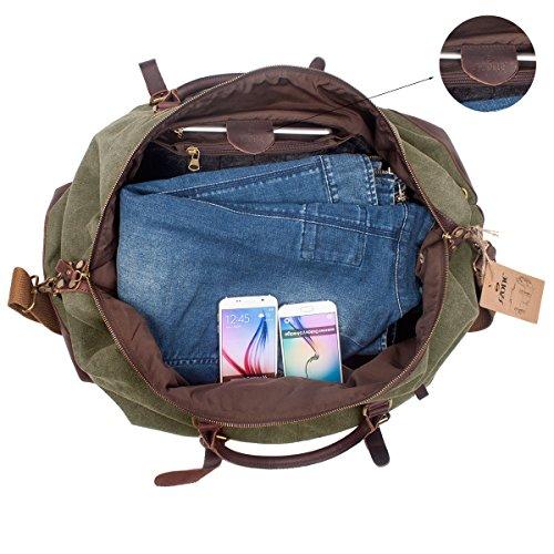 S-ZONE Oversized Canvas Genuine Leather Trim Travel Tote Duffel Shoulder  Handbag Weekend Bag 989da9fd3b71a