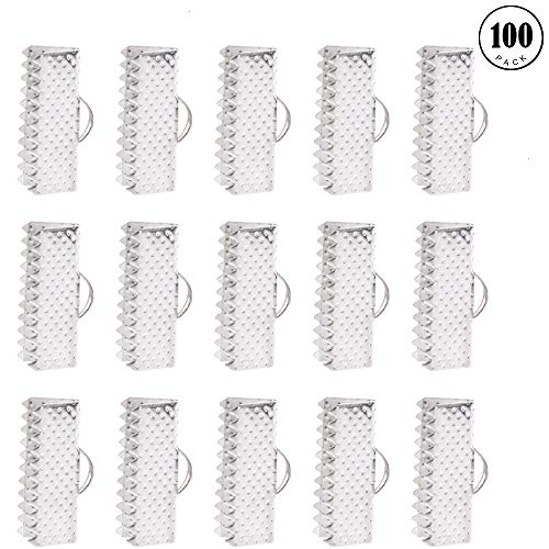 - Gaiatop Ribbon Clamps for Jewelry Making, 100PCS 16mm Silver Plated Ribbon Bracelet Bookmark Leather Pinch Crimps End Findings with Loop Silver