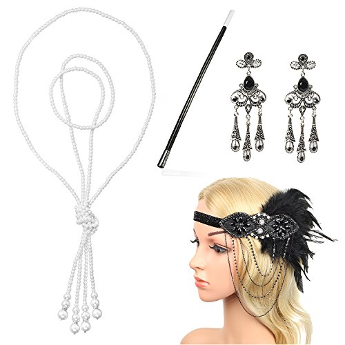 Beelittle 1920s Accessories Headband Earrings Necklace Gloves Cigarette Holder (G2)
