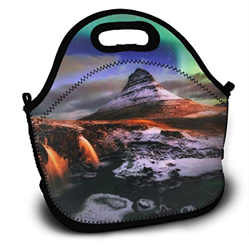 Dejup Lunch Bag Aurora Mountain Tote Reusable Insulated Lunchbox, Shoulder Strap with Zipper for Kids, Boys, Girls, Women and Men -