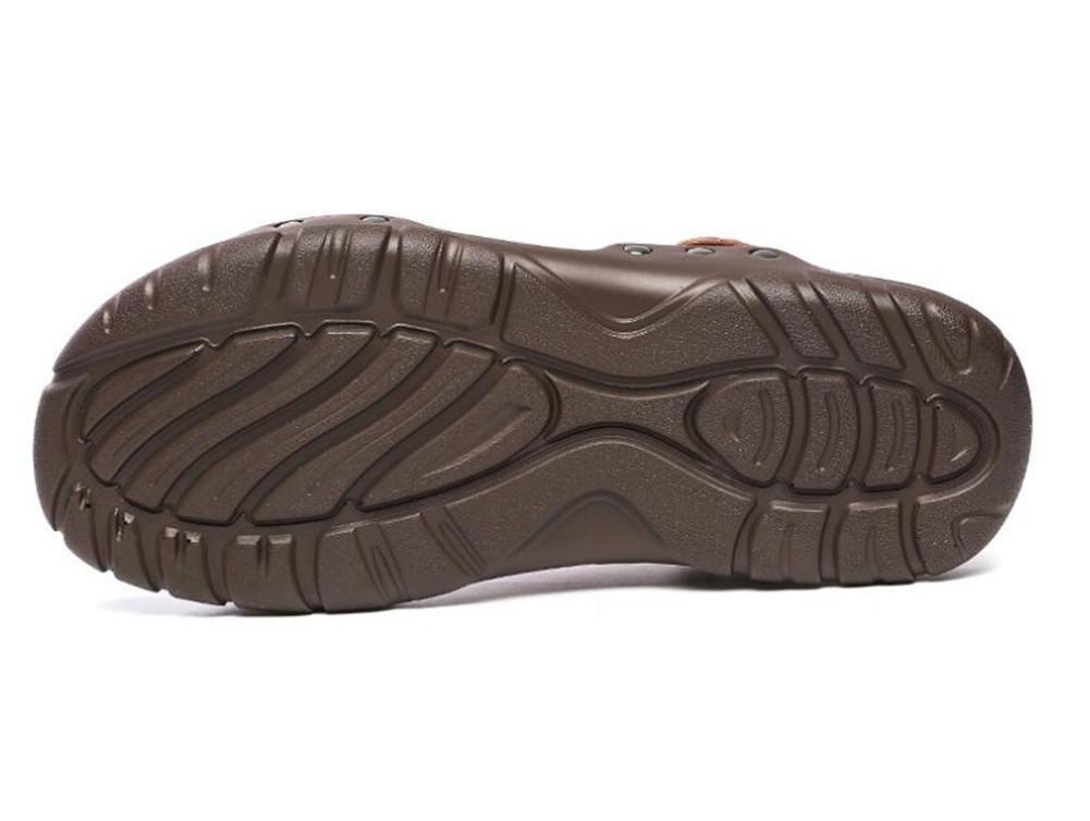 NSLXIE Männer Schuhe aus Echtem Leder Rivet Zehe Sandalen Strand Sommer Offene Zehe Rivet Ziehen auf Slipper Atmungsaktiv Rutschfeste Größe 38 bis 43, Yellow, EU41 Braun-eu41 d30918