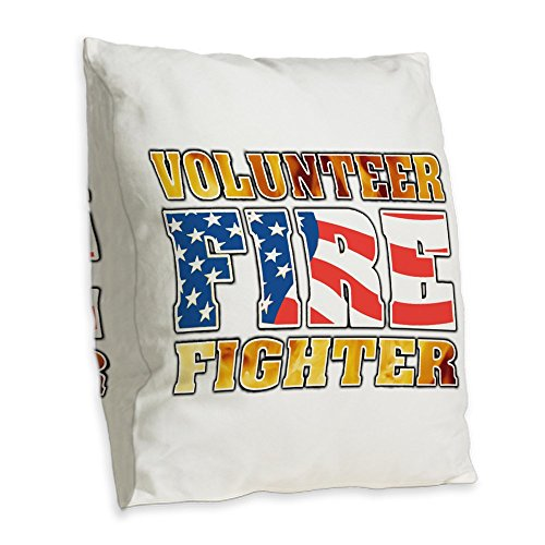 Burlap Throw Pillow Large Volunteer Firefighter Flames US ()
