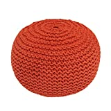BrandWave Cotton Cover Round Pouf Ottomon / Seat - Elegantly Woven Hand Knit 100 Percent Cotton Cover - Soft Yet Sturdy Design - Orange - 18x18x18 (round)