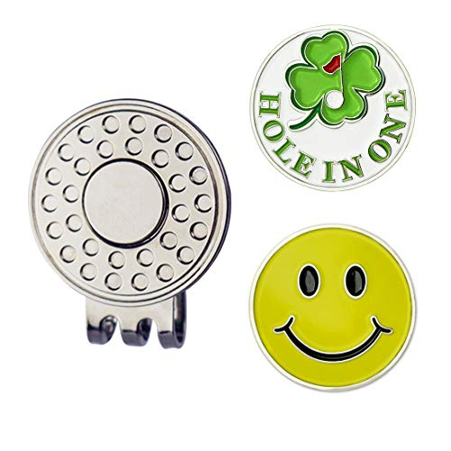 GOLTERS Golf Ball Markers with Golf Hat Clip Golf Gift Sets (Clover Smile)
