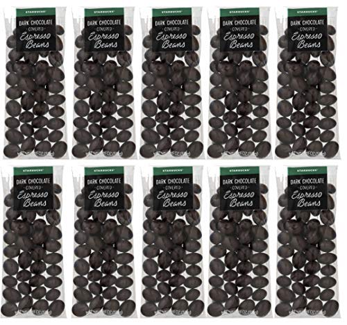 Starbucks Gourmet Dark Chocolate Covered Espresso Beans | 10 Count Snack Pack | 1.75 Oz Each | Over One Lbs Of Rich Yummy Covered Coffee Java Beans