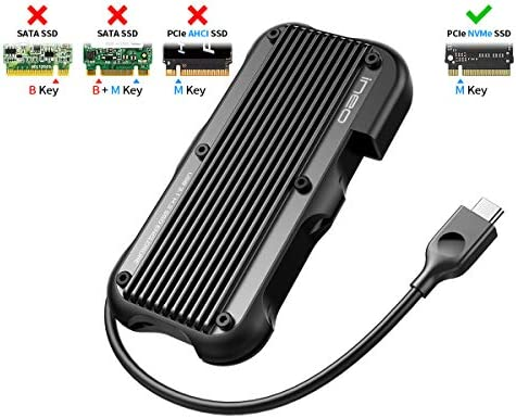 ineo USB 3.1 Gen 2 Type-C Rugged Aluminum Cover M.2 PCIe NVMe SSD Enclosure